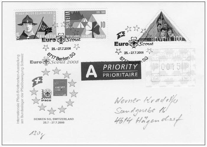 Euroscout 2008 Benken Sg Wwwpfadfinder Briefmarkench